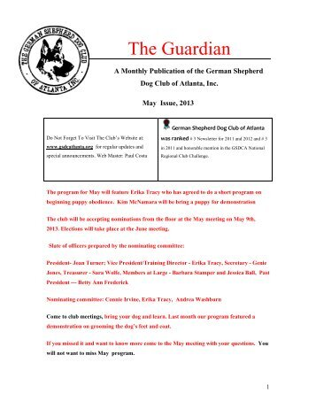 May Guardian - German Shepherd Dog Club of Atlanta