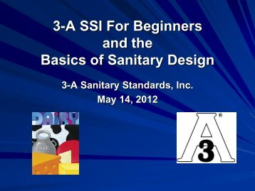 Product Contact Surfaces - 3-A Sanitary Standards