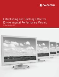 Establishing and Tracking Effective Environmental ... - SAI Global