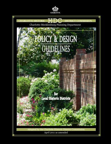 POLICY & DESIGN GuIDELINES - Charlotte-Mecklenburg County