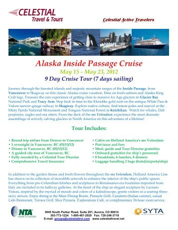 Alaska Inside Passage Cruise - Celestial Travel and Tours