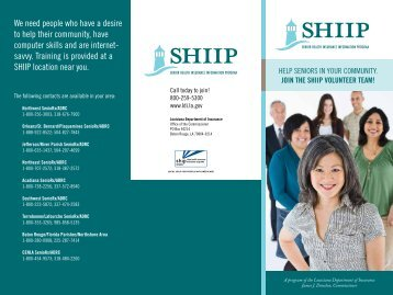 SHIIP Volunteer Brochure - Louisiana Department of Insurance