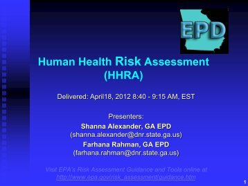 EPD GA Tier II Risk Assessment Presentation