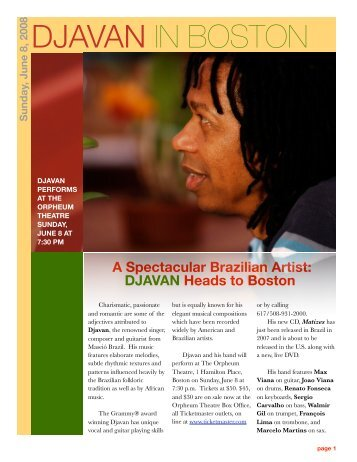 DJAVAN IN BOSTON - Sue Auclair Promotions