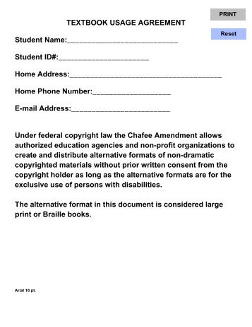 Textbook Usage Agreement Student Name