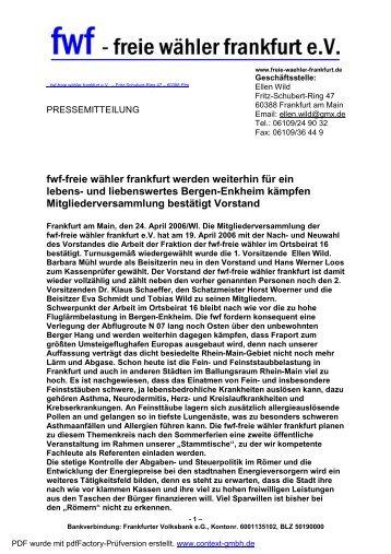 Mitteilung Stammtisch und Vorstandswahlen - Freie Wähler Frankfurt