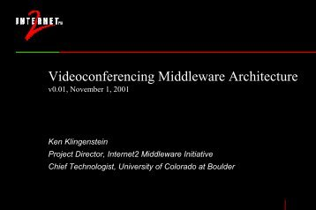 Videoconferencing Middleware Architecture - Internet2 Middleware ...