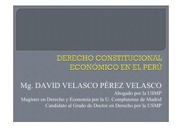 14.11. Derecho Constitucional Económico. Dr. David Velasco
