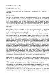 Gottesdienst am 4. Juli 2010 Predigt 1. Korinther 1, 18-31 Gnade sei ...