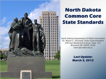 Presentation: Overview of Common Core State Standards in North ...