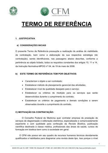 Termo de Referência - Conselho Federal de Medicina
