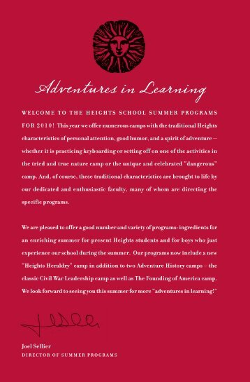 Adventures in Learning - The Heights School