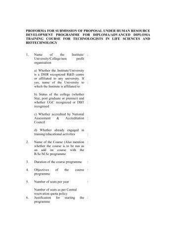 Proforma For Submission Of Proposal Under Ahvy 1 Organisation