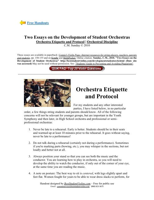 Orchestra Etiquette and Protocol - Best Student Violins