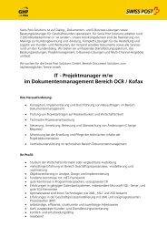 Stellenausschreibung: It-Projektmanager (m/w)