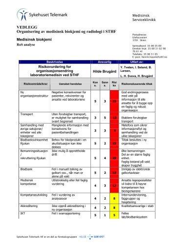 Vedlegg: Organisering av medisinsk biokjemi og radiologi i sthf 2012