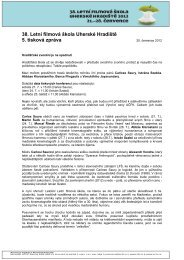 5. tisková zpráva ke 38. LFŠ - Asociace českých filmových klubů