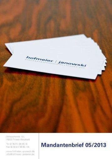 Mandantenbrief Mai 2013 - hofmeier   janowski