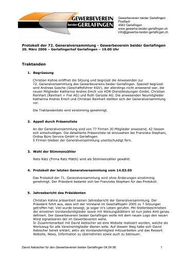 Protokoll - Gewerbeverein beider Gerlafingen