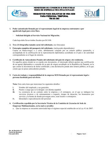Requisitos para Solicitud de Visa Temporal SEM - sedes de ...