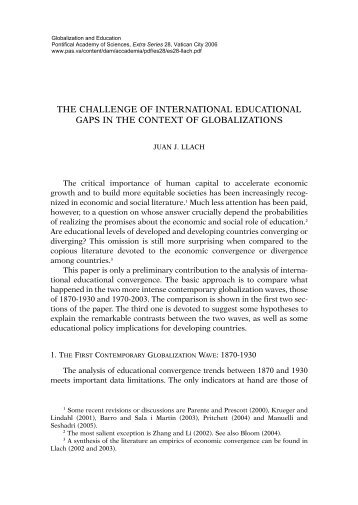 the challenge of international educational gaps in the context of ...