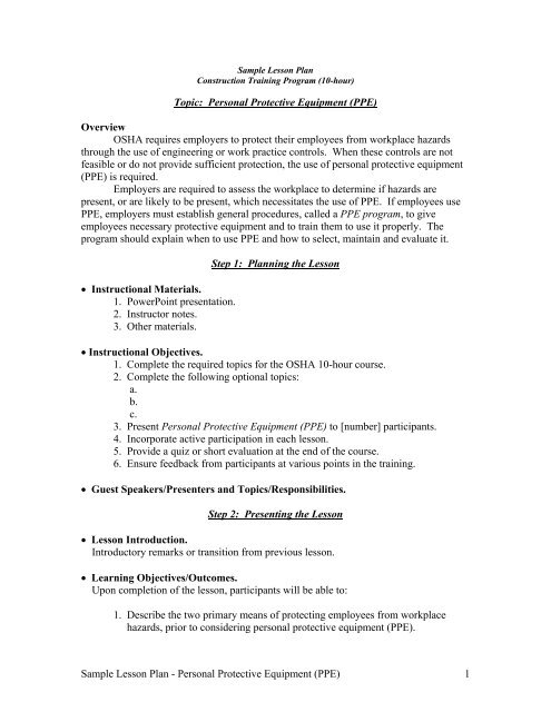 Sample Lesson Plan Personal Protective Equipment PPE 1