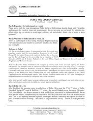 SAMPLE ITINERARY INDIA: THE GOLDEN TRIANGLE
