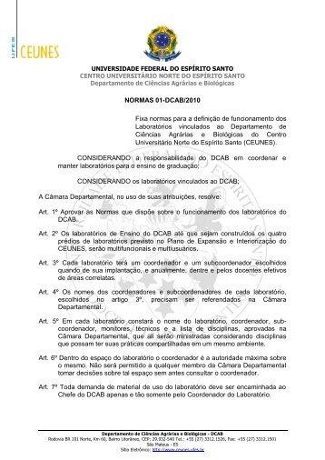 NORMAS 01-DCAB/2010 Fixa normas para a definição ... - CEUNES