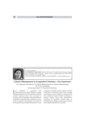 Cataract Management in Congenital Coloboma