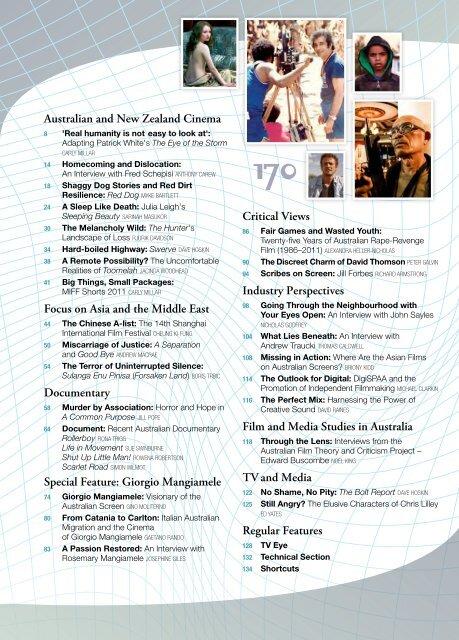 Australian and New Zealand Cinema Focus on     - Metro Magazine