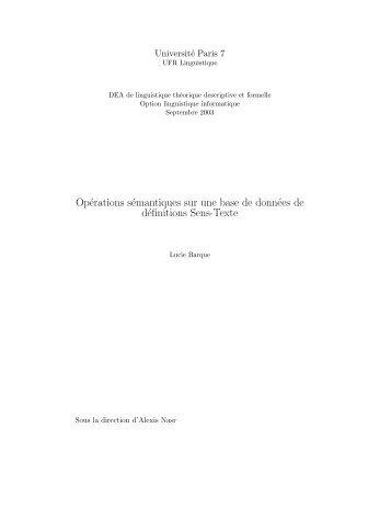 PDF (420KB) - Observatoire de linguistique Sens-Texte (OLST)