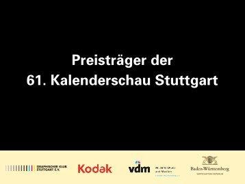 Preisträger der 61. Kalenderschau Stuttgart - Graphische Klub ...