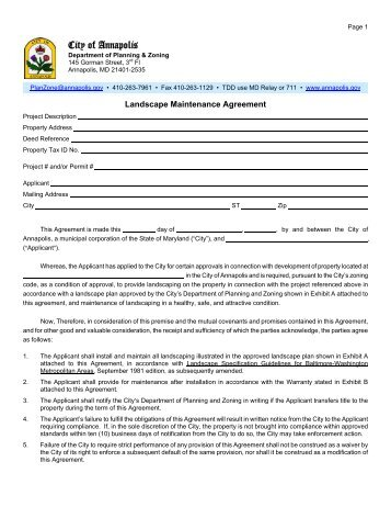 Caltrans  Landscape Maintenance Agreement  Sample Contract