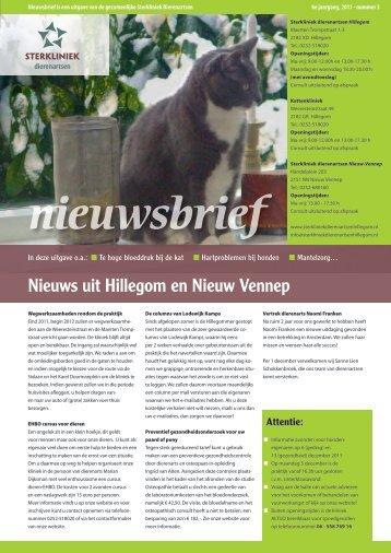 Nieuwsbrief 2011 nummer 3 - Sterkliniek Dierenartsen Hillegom