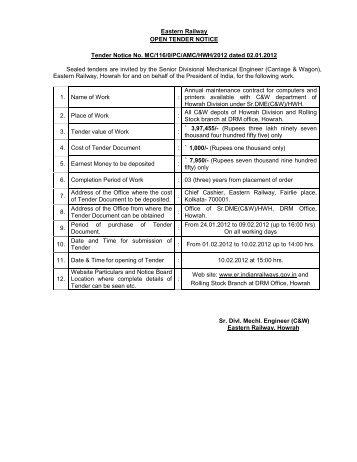 South eastern railway chakradharpur tenders dating