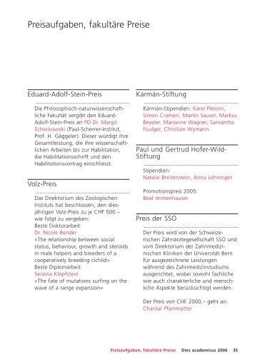 Preisaufgaben, fakultäre Preise - Dies academicus - Universität Bern