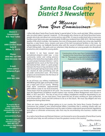 District 3 Newsletter - Santa Rosa County