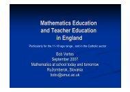 Mathematics Education and Teacher Education in England