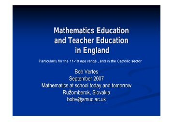 Mathematics Education and Teacher Education in England