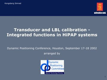 Transducer and LBL calibration - Integrated functions in HiPAP ...