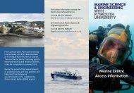 Marine Centre Access Informa on - Plymouth University