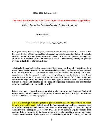 (WTO Law) in the International Legal Order - International Trade ...
