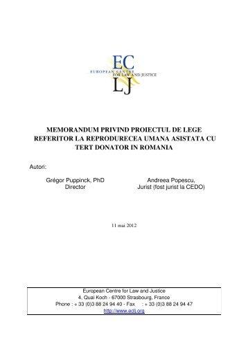 memorandum privind proiectul de lege referitor la ... - ECLJ