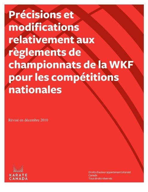 Précisions et modifications relativement aux ... - Karate Canada