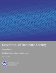 2012 Data Mining Report to Congress - Homeland Security