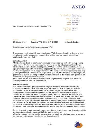 Input ANBO begrotingsbehandeling VWS 2013, brief I
