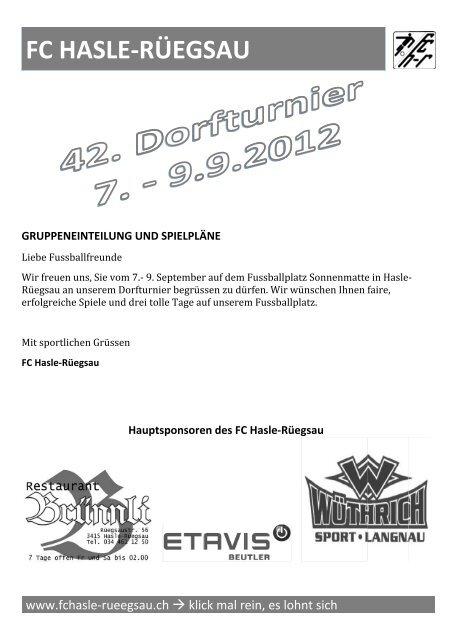 FC C HA ASLE E-RÜ ÜEGS SAU U - FC Hasle-Rüegsau