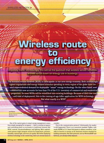 Wireless route to energy efficiency - Avnet Electronics Marketing