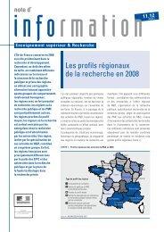 Les profils régionaux de la recherche en 2008 - L'Observatoire des ...