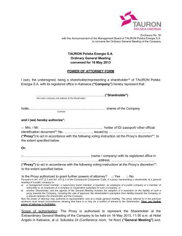 Power of Attorney form - tauron